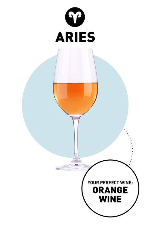 """<p class=""""MsoNormal""""><strong>Your Drink</strong>: <a href=""""http://www.delish.com/food/news/a38844/orange-wines/"""">Orange Wine</a><o:p></o:p> </p><p class=""""MsoNormal""""><strong>Why:</strong> You're not one to get lost in a crowd, so in a world of red and white wine, go for the equally standout <em>orange</em>. Though technically a white wine, it's made like a red, resulting in a sunset-orange color and a tart flavor that's loaded with tannins.  The innovative way it's made is the perfect fit for someone who appreciates originality as much as you do.<o:p></o:p></p>"""