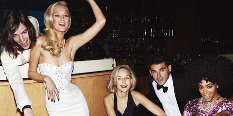 Clothing, Hair, Formal wear, Party, Fashion, Strapless dress, Friendship, Tie, Blond, Flash photography,