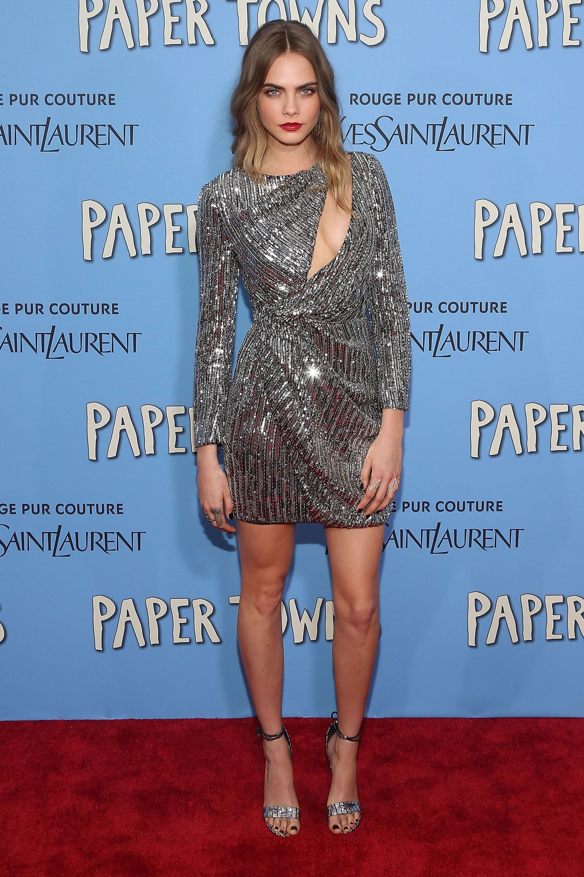 <p><strong>What: </strong>Saint Laurent</p><p><strong>Where: </strong><em>Paper Towns</em> New York premiere</p><p><strong>Why:</strong> The <em>Paper Towns</em> star puts a modern spin on Old Hollywood glamour in a peek-a-boo cutout sequin dress and red lip. </p>
