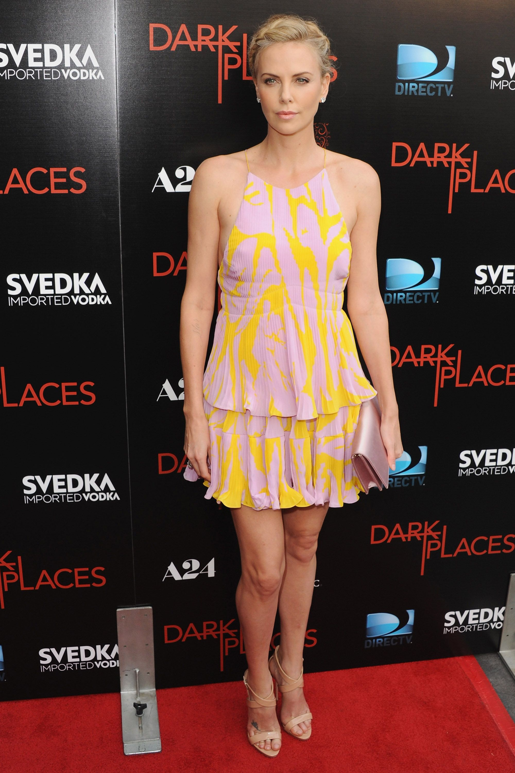 <p><strong>What: </strong>Christian Dior</p><p><strong>Where: </strong><em>Dark Places</em> Premiere</p><p><strong>Why:</strong> The actress heeds summer's effortless dress code at her latest premiere in this flirty sorbet-hued mini dress.</p>