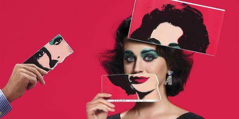Lip, Hairstyle, Eyelash, Eyebrow, Style, Eye shadow, Eye liner, Black hair, Costume accessory, Art,