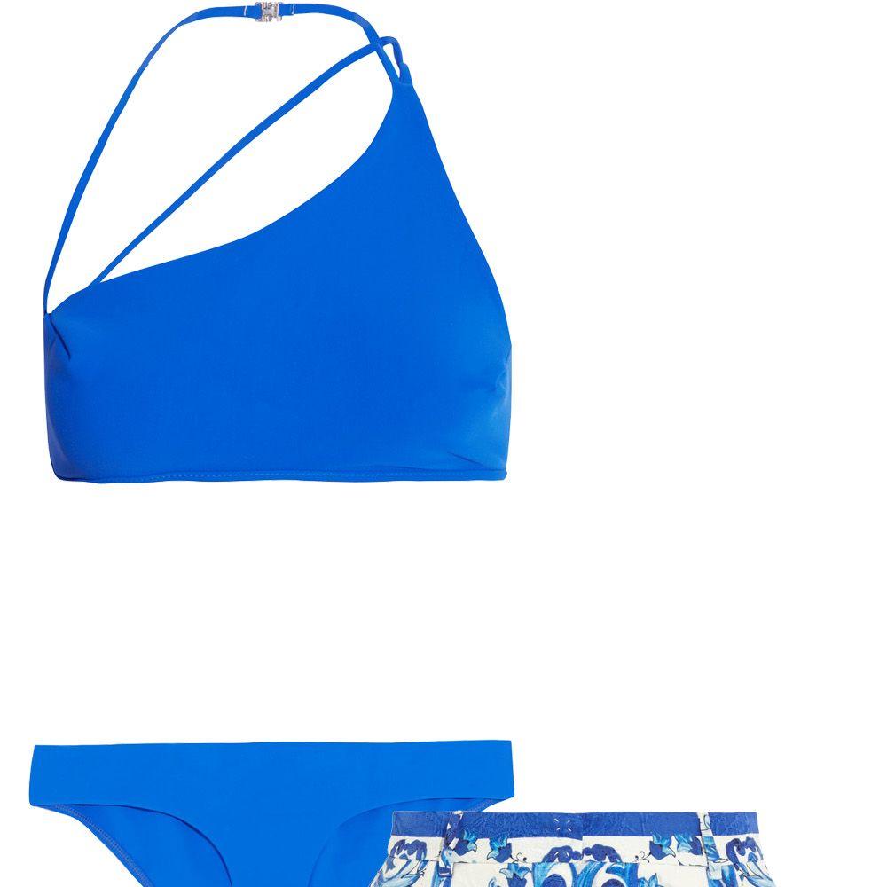 "<p><strong>Zimmermann</strong> bikini $275, <a href=""http://us.zimmermannwear.com/swim-and-resort/swimwear/hyper-bonded-asymmetric-bikini-electric.html"">zimmermannwear.com</a>&#x3B; <strong>Dolce & Gabbana</strong> shorts, $1,295, <a href=""http://www.net-a-porter.com/us/en/product/567102"">net-a-porter.com</a>.</p>"