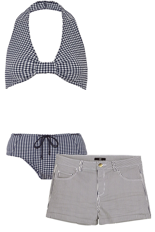 "<p><strong>Lisa Marie Fernandez </strong>bikini, $395, <a href=""http://shop.lisamariefernandez.com/index.php?product=2015SP078DH+NWG"">lisamariefernandez.com</a>; <strong>H&M</strong> shorts, $7, <a href=""http://www.hm.com/us/product/84871?article=84871-B"">hm.com</a>.</p>"