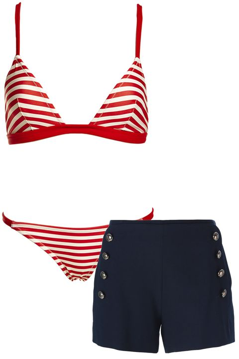 "<p><strong>Solid & Striped</strong> bikini, $178, <a href=""http://www.solidandstriped.com/collections/womens/products/the-morgan-top-red-white"">solidandstriped.com</a>; <strong>Chloe</strong> shorts, $895, <a href=""http://www.net-a-porter.com/product/587174/Chloe/stretch-wool-gabardine-shorts"">net-a-porter.com</a>.</p>"
