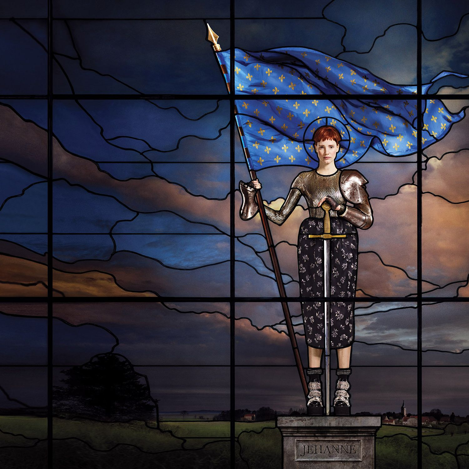 """<p>""""Individuality makes an icon. Joan of Arc inspires me because she fought against society's constraints. She went against the grain."""" </p><p><strong>Balenciaga</strong> dress&#x3B; <strong>Alexander Wang</strong> socks and shoes&#x3B; <strong>Fannie Schiavoni</strong> gloves. </p><p><em>Hair: Guillaume Berard for Mod's Hair&#x3B; makeup: Topolino&#x3B; manicure: Anatole Rainey. Special thanks to France Vitrail International. </em></p>"""