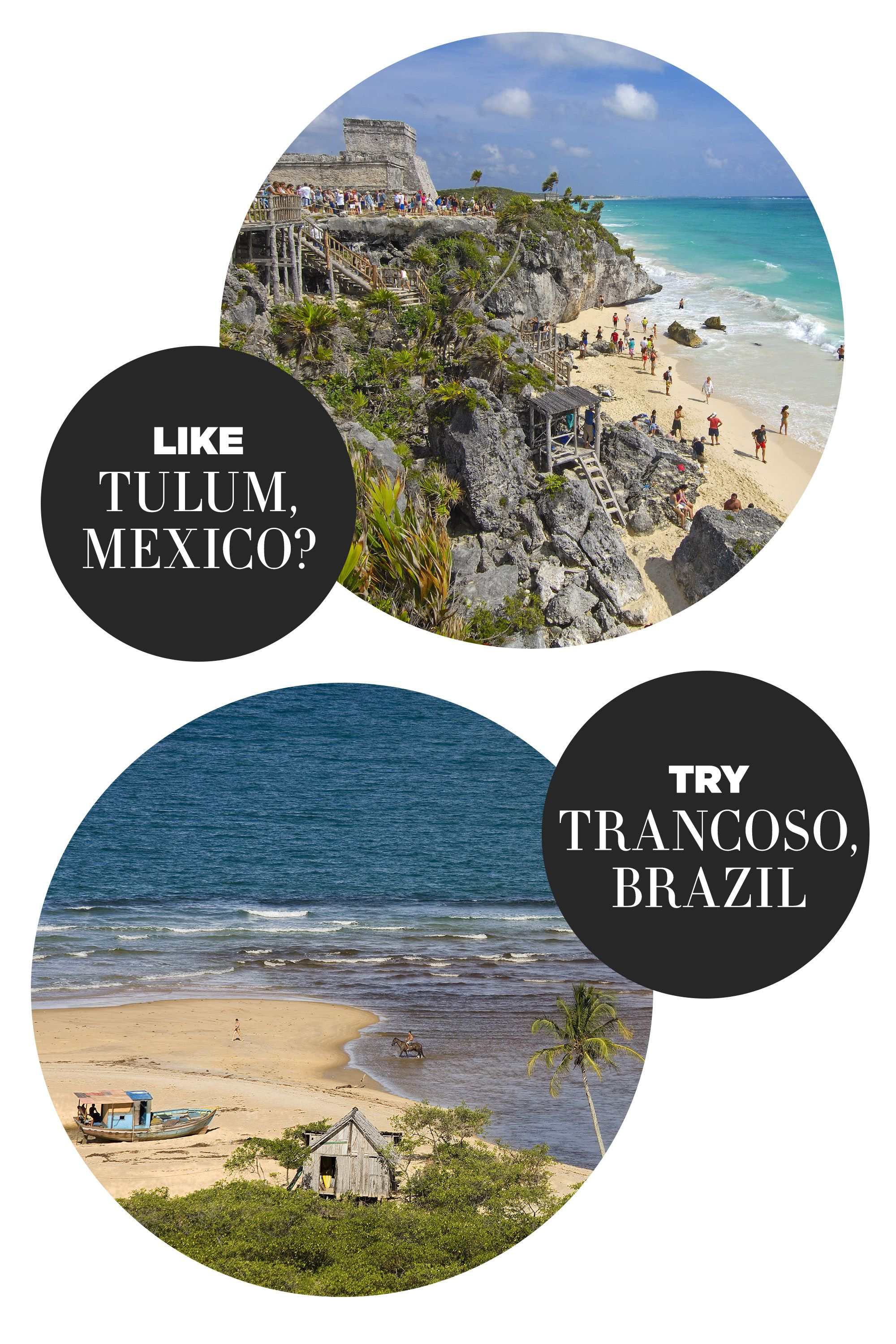 """<p>""""Next year, all eyes will be on Brazil when Rio hosts the Olympics. Trancoso is a great off-the-beaten-path destination for travelers in search of the next bohemian paradise.""""</p><p><strong>Highlights: </strong>A glamorous, secluded beach getaway of palm trees and endless Instagrams. Like Tulum, Trancoso is destined to be a favorite amongst the fashion set.</p><p><strong>Stay at:</strong> <a href=""""https://www.kiwicollection.com/hotel-detail/uxua-casa-hotel"""" target=""""_blank"""">UXUA Casa Hotel & Spa</a></p>"""