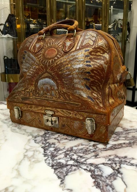 e7f8a44763fd Luggage commissioned and hand-painted by Hermes artisan in 1930s for a  private client. Available at WGACA in the East Hamptons.