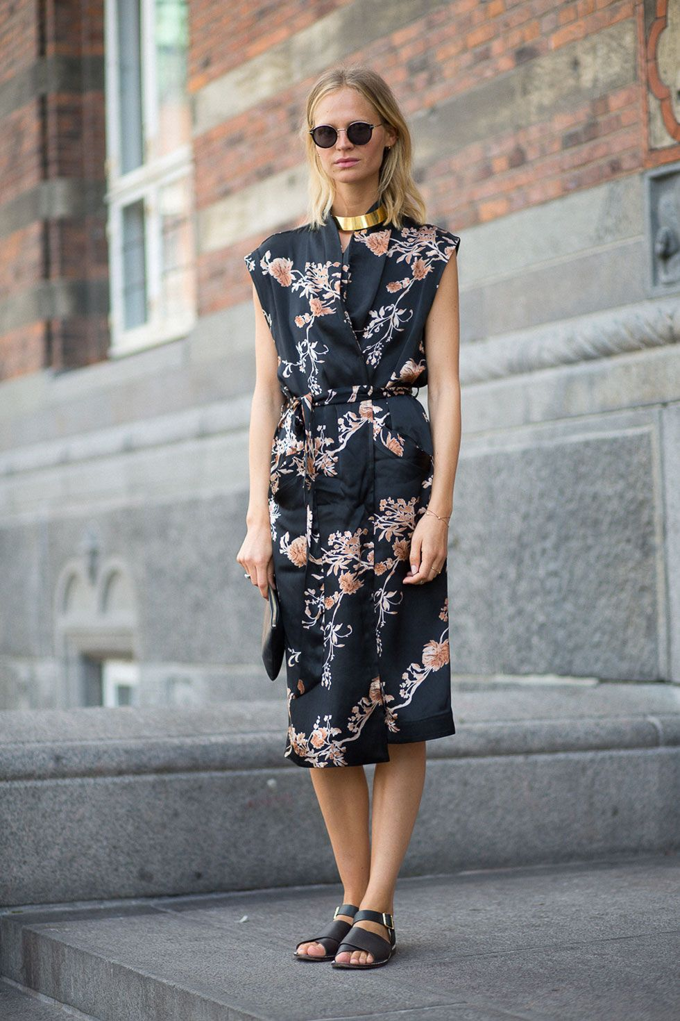 <p>Beat the heat in an easy, floral dress and luxe, flat sandals. From the office to a casual night out, there's no going wrong with this look. </p>