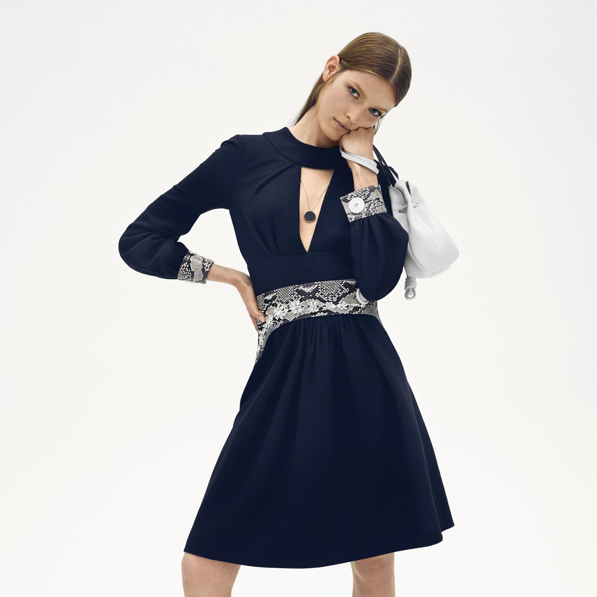 "<p><strong>Miu Miu </strong>dress, $5,325, <a href=""http://www.miumiu.com"" target=""_blank"">miumiu.com</a>&#x3B; <strong>Loewe </strong>bag, $1,150, <a href=""http://www.loewe.com"" target=""_blank"">loewe.com</a>&#x3B; <strong>Tom Wood</strong> necklace, $320, <a href=""http://www.tomwoodproject.com"" target=""_blank"">tomwoodproject.com</a>&#x3B;<strong> Louis Vuitton</strong> shoes, price upon request, <a href=""http://www.louisvuitton.com"" target=""_blank"">louisvuitton.com</a>. </p>"