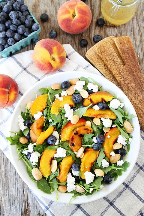 """<p>Sweet peaches put a Southern spin on this summer salad.</p><p>Get the recipe from <a href=""""http://www.twopeasandtheirpod.com/grilled-peach-blueberry-and-goat-cheese-arugula-salad/#more-17438"""">Two Peas and Their Pod</a>.<span></span></p>"""