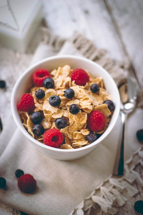 "<p>Even if it's a hearty, healthy version, cold cereal isn't going to keep you full for very long because there's not a lot of water content. ""<a href=""http://ajcn.nutrition.org/content/70/4/448.full"">Studies show</a> that when water is incorporated into a food, it's going to fill you up more than food with a lower water content,"" says <a href=""https://dawnjacksonblatner.com/"">Dawn Jackson Blatner</a>, RD, author of <em>The Superfood Swap Diet</em>. ""Think about holding a box of dry cereal—it's super light. You can probably eat most of the box in one sitting,"" she explains. Sure, you're going to get whole grains, fiber, and vitamins, just as the box claims, but you're not going to feel full for very long. </p><p>A better idea: Focus on foods with high-water content, like cooked oatmeal or overnight oats, which have been soaked in water or almond milk overnight.</p>"