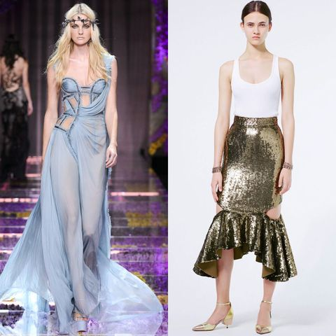 <p>Sheer and sexy queen-of-the-sea gowns dominated at Atelier Versace's Fall Couture 2015 show, while Givenchy showed a flared sequined skirt straight out of Ariel's dreams for its Resort 2016 collection.</p>