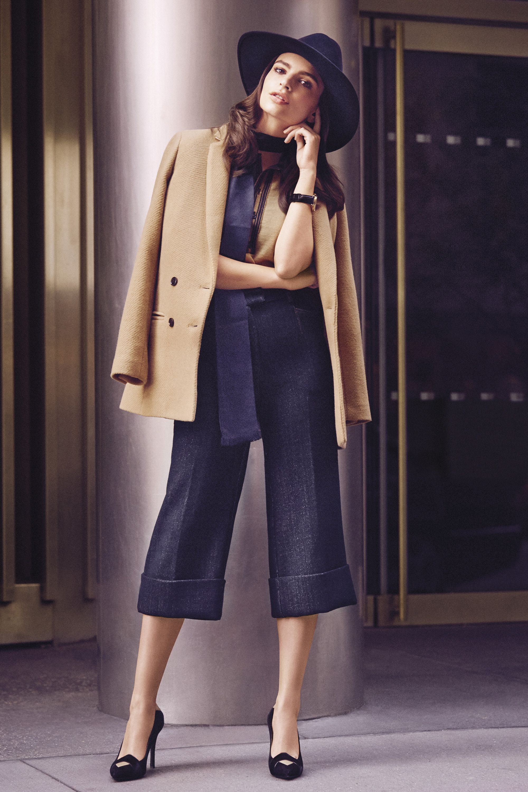 <p><strong> Banana Republic </strong>blazer; <strong>Hilfiger Collection</strong> sweater and pants, <strong>Tommy Hilfiger </strong>stores; <strong>Patricia Underwood</strong> hat; <strong>Standen</strong> scarf, Barneys New York; <strong>Bulova </strong>watch, Macy's; <strong>Longchamp</strong> shoes. </p>