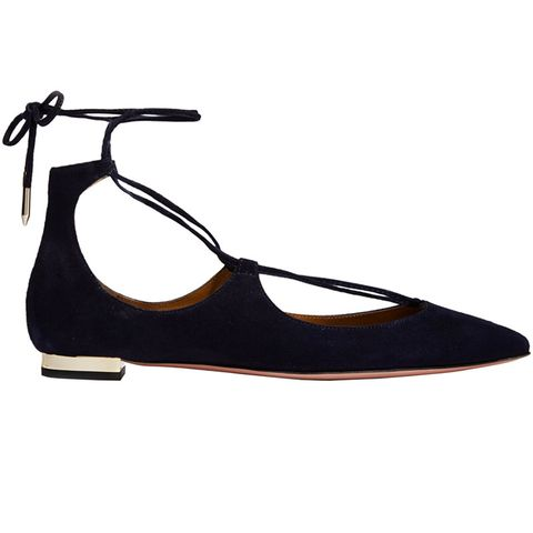"<p>Trade in your basic ballets for a pair of <a href=""http://www.harpersbazaar.com/fashion/trends/g6093/lace-up-flats-for-fall/"">lace-up flats</a> that have enough polish to turn your jeans and t-shirt routine on its head. </p><p><strong>Aquazzura</strong> flats, $675, <a href=""https://shop.harpersbazaar.com/designers/aquazzura/christy-suede-flat/"">shopBAZAAR.com</a>.</p>"