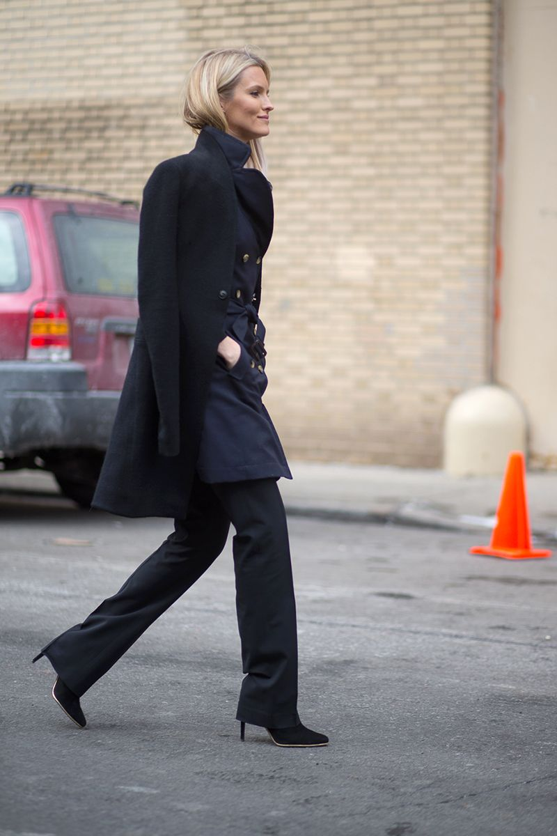 <p>Inky layers look sophisticated for taking in a bit of culture. A masterpiece of an ensemble: Bootcut trousers, high-heeled booties, and a lightweight trench. (Channel this chic saunterer and toss a heavier coat over your shoulders to keep you warm when outside.)</p>