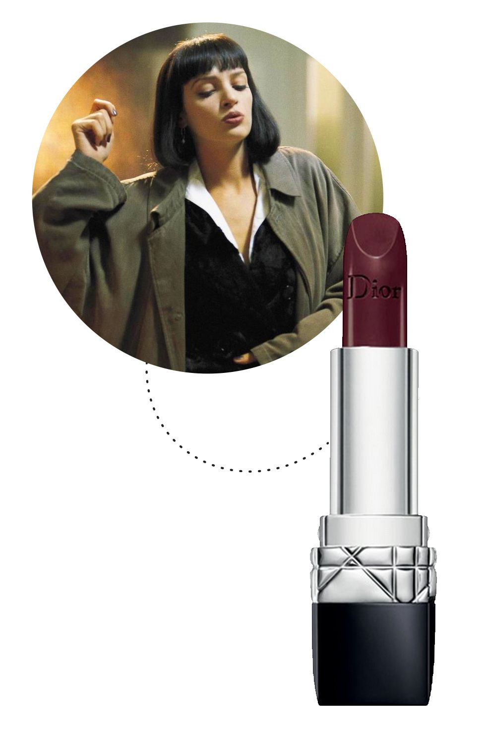 """<p>Mrs. Wallace's lip look in her infamous pre-overdose dance scene is what muddy plum dreams are made of. For a similar effect, try an opaque Bordeaux brown, but maybe say """"no"""" to drugs.</p><p><a href=""""http://shop.nordstrom.com/s/dior-rouge-dior-lipstick/3575947""""></a><em><a href=""""http://shop.nordstrom.com/s/dior-rouge-dior-lipstick/3575947"""">Dior Rouge Dior Lipstick in Unique.</a></em></p>"""