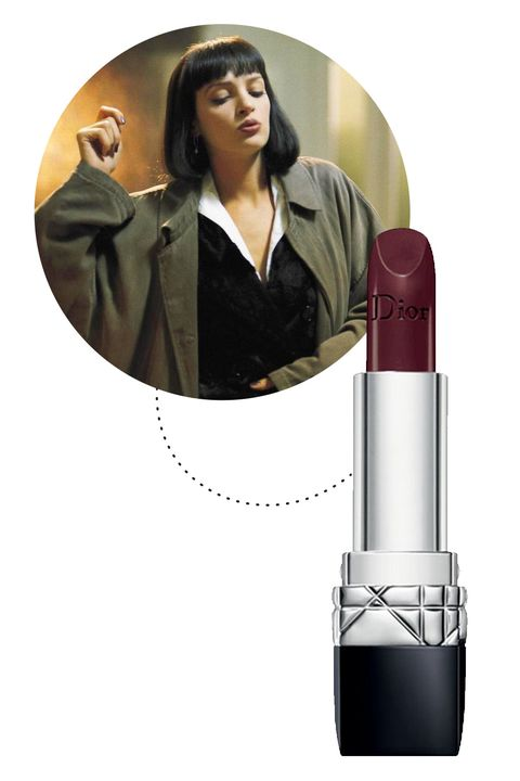 "<p>Mrs. Wallace's lip look in her infamous pre-overdose dance scene is what muddy plum dreams are made of. For a similar effect, try an opaque Bordeaux brown, but maybe say ""no"" to drugs.</p><p><a href=""http://shop.nordstrom.com/s/dior-rouge-dior-lipstick/3575947""></a><em><a href=""http://shop.nordstrom.com/s/dior-rouge-dior-lipstick/3575947"">Dior Rouge Dior Lipstick in Unique.</a></em></p>"