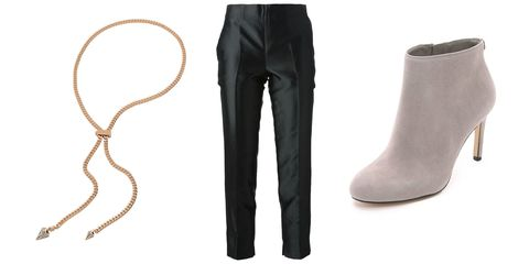"<p>Paired with cropped cigarette trousers and high-heeled ankle booties.</p><p><em><em>Vita Fede Titan Chain Crystal Necklace, $600, <a href=""https://shop.harpersbazaar.com/designers/vita-fede/titan-chain-crystal-necklace/"" target=""_blank"">shopbazaar.com</a></em>: Moncler Gamme Rouge Cropped Cigarette Trousers, $554.85, <a href=""http://www.farfetch.com/shopping/women/moncler-gamme-rouge-cropped-cigarette-trousers-item-10977691.aspx?storeid=9300&ffref=lp_2_5_"" target=""_blank"">farfetch.com</a>; MICHAEL Michael Kors Sammy Suede Booties, $185, <a href=""https://www.shopbop.com/sammy-booties-michael-kors/vp/v=1/1590725268.htm?folderID=2534374302153373&fm=other-shopbysize-viewall&os=false&colorId=18146"" target=""_blank"">shopbop.com</a></em><br></p>"
