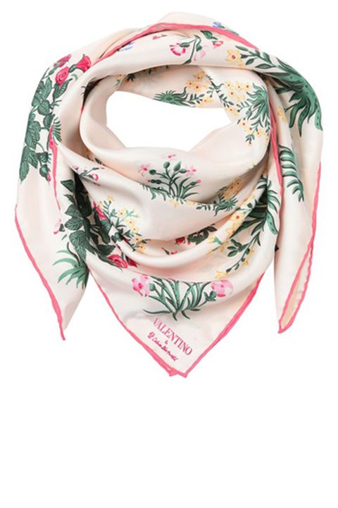 "<p><strong>Valentino </strong>silk scarf, $430, <a href=""http://www.luisaviaroma.com/index.aspx?#ItemSrv.ashx%7CSeasonId=62I&CollectionId=AG1&ItemId=43&VendorColorId=QTAz0&SeasonMemoCode=actual&GenderMemoCode=women&Language=&CountryId=&SubLineMemoCode=accessories&CategoryId=71&ItemResponse=&MenuResponse=&SizeChart=false&ItemTag=true&NoContext=false"" target=""_blank"">luisaviaroma.com</a>.</p>"