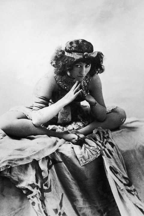 <p>The female French novelist is best known for her novel, <em>Gigi</em>. Working as a mime and actress on the side, she capitalized on her dramatic flair for fashion as seen here, posing as an Egyptian queen. Her costumes on stage were revealing for the time and often caused a scandal. </p>
