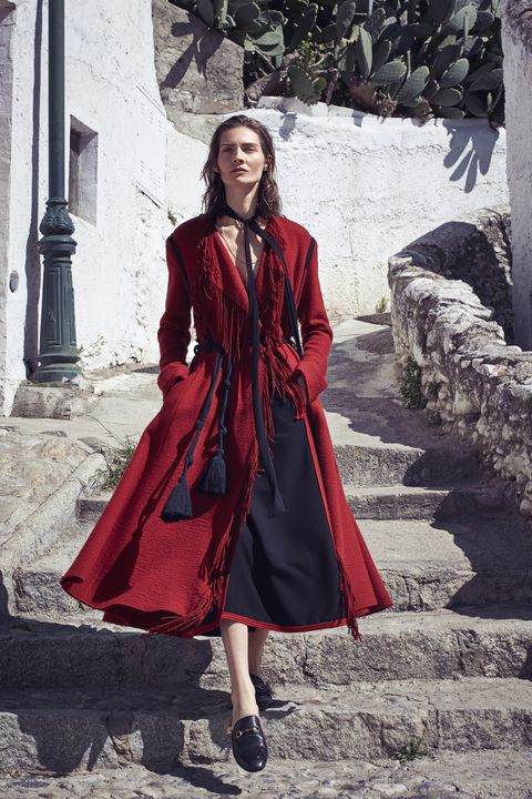 "<p><strong>Lanvin </strong>coat, $4,870, and skirt, $1,965, 646-439-0380; <strong>Chloe </strong>scarf, $195, <a href=""http://www.saksfifthavenue.com/Chloe/Women-s-Apparel/shop/_/N-1z12st3Z52flogZ6lvnb8/Ne-6lvnb6?Ns=P_arrivaldate%7C1%7C%7CP_306418048_sort%7C%7CP_brandname%7C%7CP_product_code"" target=""_blank"">saks.com</a>; <strong>Beladora</strong> necklace, $3,000, <a href=""http://www.beladora.com/"" target=""_blank"">beladora.com</a>; <strong>Lanvin </strong>belt, similar styles available at <a href=""https://shop.harpersbazaar.com/designers/lanvin/marina-tassle-belt/"" target=""_blank"">shopBAZAAR.com</a>; <strong>Gucci</strong> shoes, $995, <a href=""https://shop.harpersbazaar.com/designers/gucci/fur-lined-slip-on-loafer/"" target=""_blank"">shopBAZAAR.com</a>. </p>"