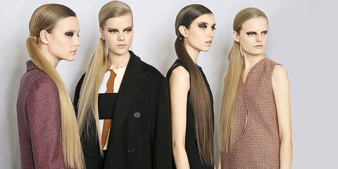 "<p>The ponytail is perhaps the most versatile hairstyle of all. ""It will never go out of style because it's a flattering look women can do on themselves,"" explains Dove celebrity hairstylist Mark Townsend. At Dior, sleek extra-long hair was parted on the side, combed tightly over the crown, and fastened behind the ear to cascade over one shoulder. What you need: <a href=""http://www.ghdhair.com/us"" target=""_blank"">GHD's Platinum flat iron</a> ($249) and <a href=""http://www.suave.com/product/detail/671170/max-hold-non-aerosol-hairspray-max-hold-unscented-non-aerosol-hairspray"" target=""_blank"">Suave Max Hold Hairspray</a> ($3.29).</p>"