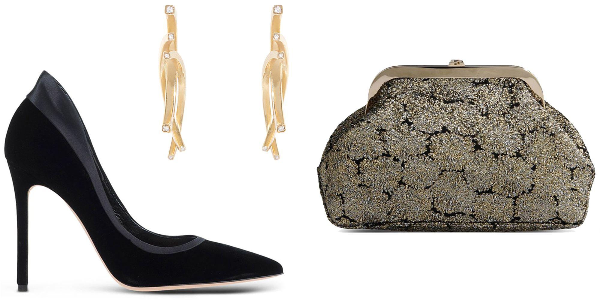 "<p><em>Gianvito Rossi pumps, $950, <a href=""https://shop.harpersbazaar.com/designers/g/gianvito-rossi/velvet-and-satin-pump-5000.html"" target=""_blank"">shopBAZAAR.com</a>; Tilda Biehn earrings, $1,750, <a href=""https://shop.harpersbazaar.com/designers/g/gianvito-rossi/velvet-and-satin-pump-5000.html"" target=""_blank"">shopBAZAAR.com</a>; Rochas clutch, $905, </em><a href=""https://shop.harpersbazaar.com/designers/r/rochas/brocade-clutch-5308.html"" target=""_blank""><em>shopBAZAAR.com</em></a></p>"