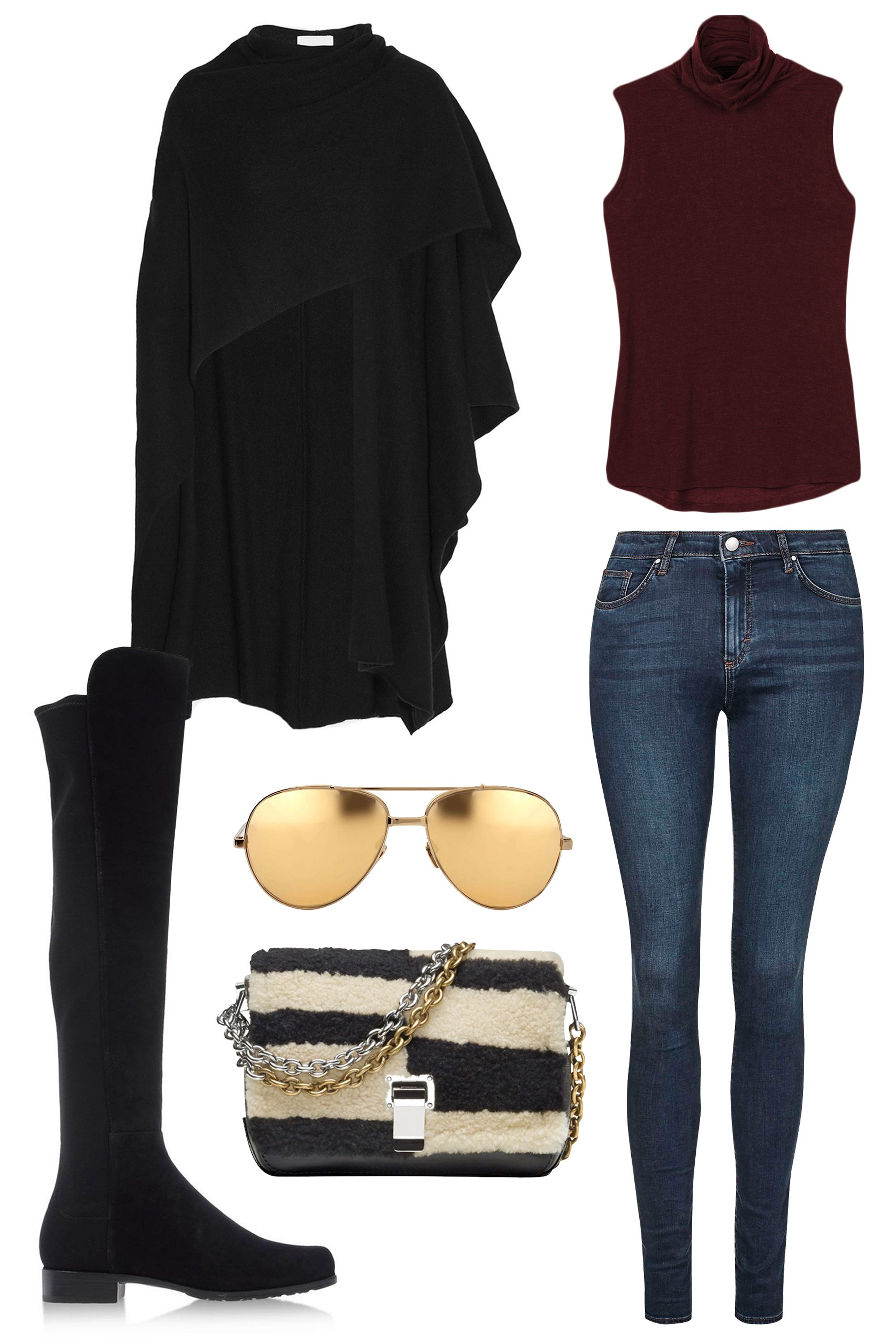 """<p>Spending a crisp fall weekend afternoon shopping around town? Add a wrap over classic skinny jeans to chase the chill with flat, over-the-knee suede boots and golden sunnies for an ensemble that's comfortable, sleek and seasonally appropriate. </p><p><strong>Kit and Ace</strong> Prevost Sleeveless Top, $78, <a href=""""https://ad.atdmt.com/c/go;p=11067200800298;a=11067200800296;ev.a=1;idfa=;idfa_lat=;aaid=;aaid_lat=;cache="""" target=""""_blank"""">kitandace.com</a>; <strong>Topshop</strong> MOTO Dark Vintage Leigh Jeans, $65, <a href=""""http://us.topshop.com/en/tsus/product/clothing-70483/jeans-4593087/skinny-jeans-3533632/moto-dark-vintage-leigh-jeans-4575359?bi=1&ps=20"""" target=""""_blank"""">topshop.com</a>; <strong>Madeleine Thompson</strong> Cashmere Wrap, $525, <a href=""""http://www.net-a-porter.com/us/en/product/535806"""" target=""""_blank"""">net-a-porter.com</a>; <strong>Linda Farrow </strong>Yellow Gold Aviators, $1,105, <a href=""""https://shop.harpersbazaar.com/designers/l/linda-farrow/yellow-gold-aviators.html"""" target=""""_blank"""">shopBAZAAR.com</a>;<strong> Stuart Weitzman</strong> Black Suede Over-The-Knee Boot, $690, <a href=""""https://shop.harpersbazaar.com/designers/stuart-weitzman/over-the-knee-boots-7/"""" target=""""_blank"""">shopBAZAAR.com</a>; <strong>Proenza Schouler</strong> Striped Shearling Shoulder Bag, $1,650, <a href=""""https://shop.harpersbazaar.com/designers/p/proenza-schouler/striped-shearling-bag-5127.html"""" target=""""_blank"""">shopBAZAAR.com</a></p>"""