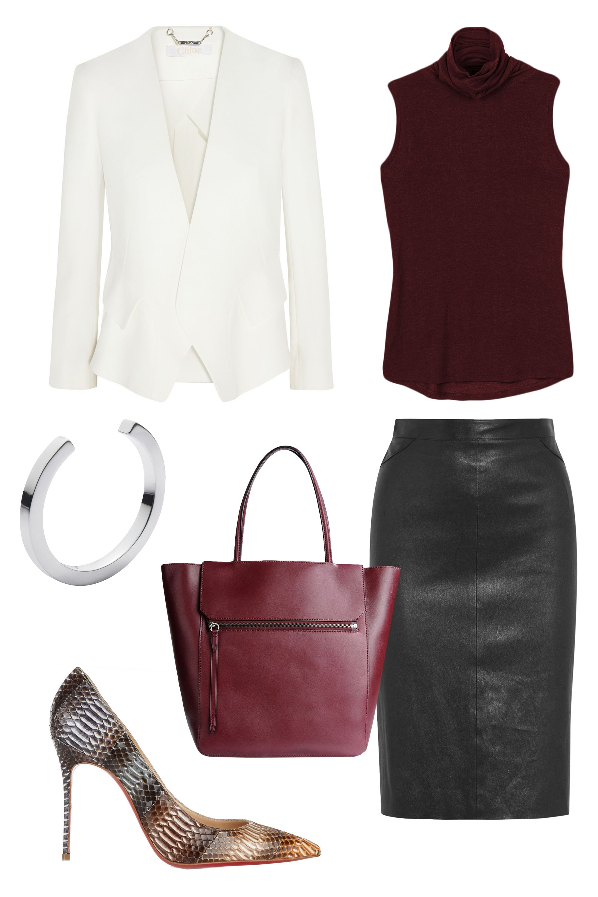 """<p>Your key to looking in command: Mixing classic, structured pieces with ease. Looking for a foolproof combo? Add a white blazer, a tote and a statement shoe in a similar palette; a black leather skirt adds just the right amount of edge. </p><p><strong>Kit and Ace</strong> Prevost Sleeveless Top, $78, <a href=""""https://ad.atdmt.com/c/go;p=11067200800298;a=11067200800296;ev.a=1;idfa=;idfa_lat=;aaid=;aaid_lat=;cache="""" target=""""_blank"""">kitandace.com</a>; <strong>Givenchy</strong> Pencil Skirt in Black Leather, $3,095, <a href=""""http://www.net-a-porter.com/us/en/product/587697"""" target=""""_blank"""">net-a-porter.com</a>; <strong>3.1 Phillip Lim</strong> Red Leather Nova Tote, $695, <a href=""""https://shop.harpersbazaar.com/designers/0-9/31-phillip-lim/red-leather-nova-bag-5129.html"""" target=""""_blank"""">shopBAZAAR.com</a>; <strong>Chloé </strong>Crepe Blazer, $2,650, <a href=""""http://www.net-a-porter.com/us/en/product/587161"""" target=""""_blank"""">net-a-porter.com</a>; <strong>Jennifer Fisher </strong>Silver Square Cuff, $260, <a href=""""https://shop.harpersbazaar.com/designers/jennifer-fisher/silver-square-cuff/"""" target=""""_blank"""">shopBAZAAR.com</a>; <strong>Christian Louboutin</strong> Décolleté 100 Snake Pumps, $1,395, <a href=""""http://www.net-a-porter.com/us/en/product/525156"""" target=""""_blank"""">net-a-porter.com</a></p>"""