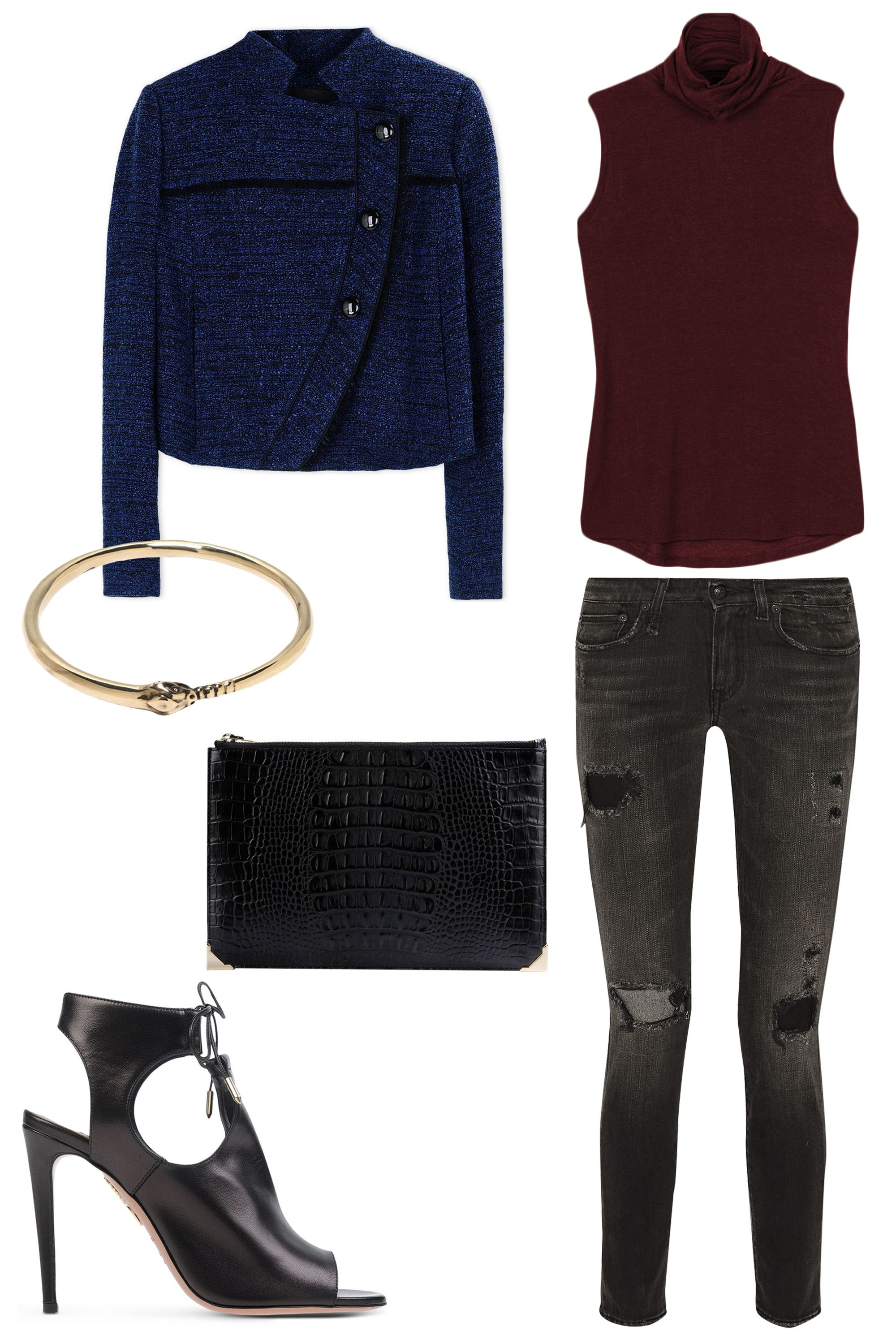 """<p>For a meet-up with friends, slip on a cropped jacket, distressed black jeans and sexy heels. A crocodile-embossed clutch dials up the glam. </p><p><strong>Kit and Ace</strong> Prevost Sleeveless Top, $78, <a href=""""https://ad.atdmt.com/c/go;p=11067200800298;a=11067200800296;ev.a=1;idfa=;idfa_lat=;aaid=;aaid_lat=;cache="""" target=""""_blank"""">kitandace.com</a>; <strong></strong> <strong>Proenza Schouler</strong> Asymmetrical Blue Tweed Jacket, $1,635, <a href=""""https://shop.harpersbazaar.com/designers/p/proenza-schouler/asymmetrical-blue-tweed-jacket-4668.html"""" target=""""_blank"""">shopBAZAAR.com</a>; <strong>R13</strong> Alison Distressed Mid-Rise Skinny Jeans, $425, <a href=""""http://www.net-a-porter.com/us/en/product/574646"""" target=""""_blank"""">net-a-porter.com</a>; <strong> Alexander Wang</strong> Prisma Croc-Embossed Clutch, $395, <a href=""""https://shop.harpersbazaar.com/designers/a/alexander-wang/prisma-croc-embossed-clutch-5189.html"""" target=""""_blank"""">shopBAZAAR.com;</a> <strong>Aquazzura </strong>Black Leather Lace-Up Cutout Sandal, $695, <a href=""""https://shop.harpersbazaar.com/designers/a/aquazzura/black-leather-lace-up-cutout-sandal-4973.html"""" target=""""_blank"""">shopBAZAAR.com</a>; <strong>Pamela Love</strong> Ouroboros Bangle, $130, <a href=""""https://shop.harpersbazaar.com/designers/pamela-love/ouroboros-bangle/"""" target=""""_blank"""">shopBAZAAR.com</a></p>"""