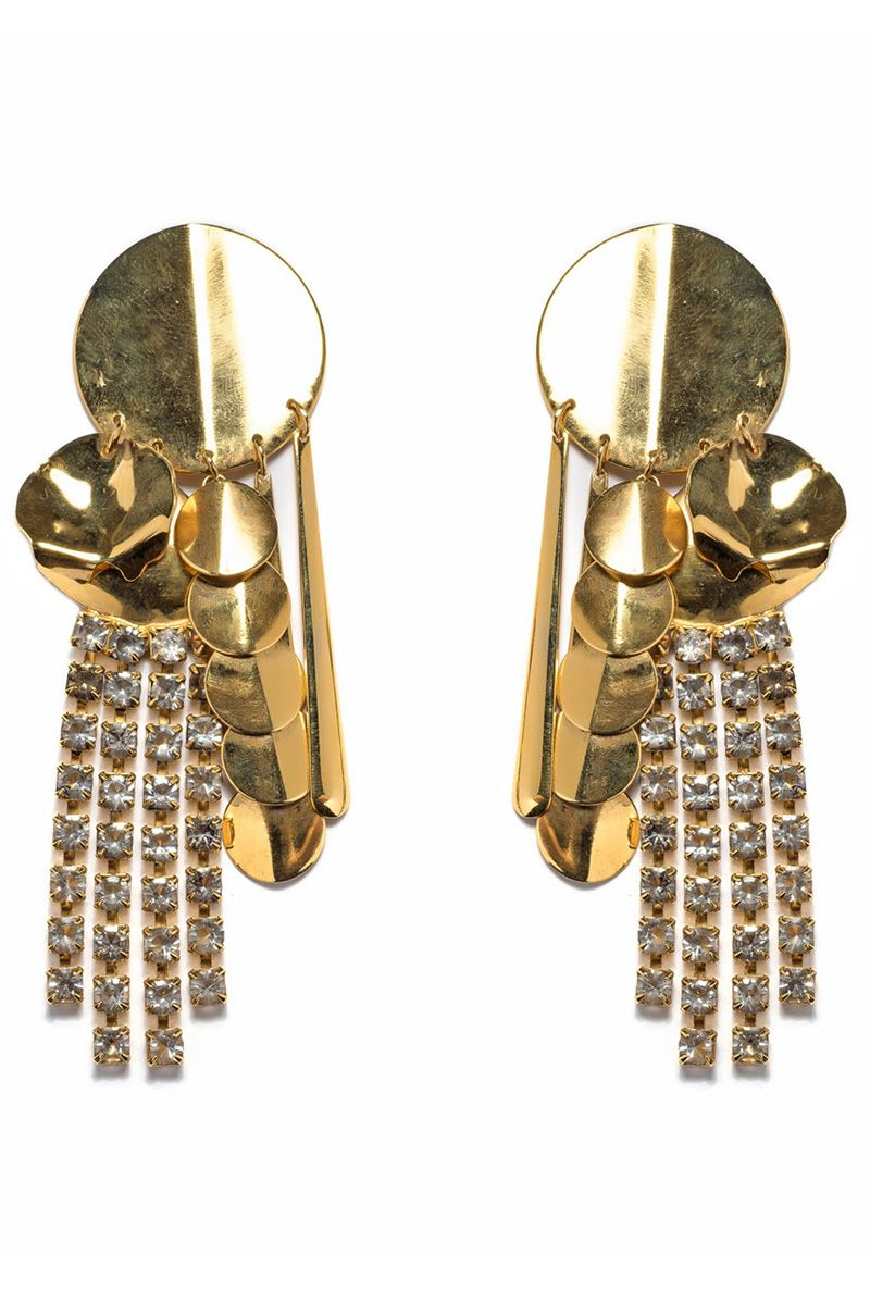<p>The single statement earring, a la Louis Vuitton and Rosie Assoulin eased us into what is now a full-on '80s earrings comeback—the bigger, the golder, the more rhinestones, the chicer.