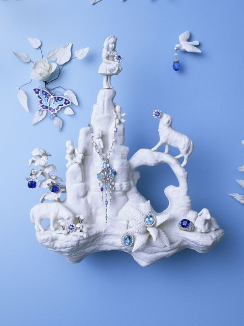 "<p>""To me, the flower girl on this cliff is an Alice in Wonderland–like figure,"" says Katleman. ""I found her in a bin of figurines in a shop on the Lower East Side."" </p><p><em>Clockwise from top: Harry Winston earrings, 212-399-1000; Chopard earring, <a href=""http://www.us.chopard.com.com/"">us.chopard.com</a>; Cartier ring, <a href=""http://www.cartier.us"" target=""_blank"">cartier.us</a>; Tiffany & Co. earrings, $3,400, 800-843-3269; Harry Winston earring; Bulgari earrings, <a href=""http://www.bulgari.com/"">bulgari.com</a>; Van Cleef & Arpels clip, <a href=""http://www.vancleefarpels.com/"">vancleefarpels.com</a>; Harry Winston necklace.</em></p>"