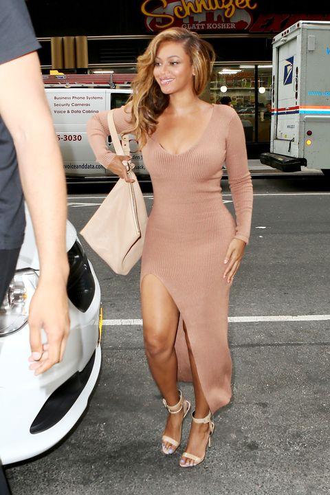 Leg, Dress, Shoe, Outerwear, Fashion accessory, High heels, Waist, Blond, Thigh, Cocktail dress,