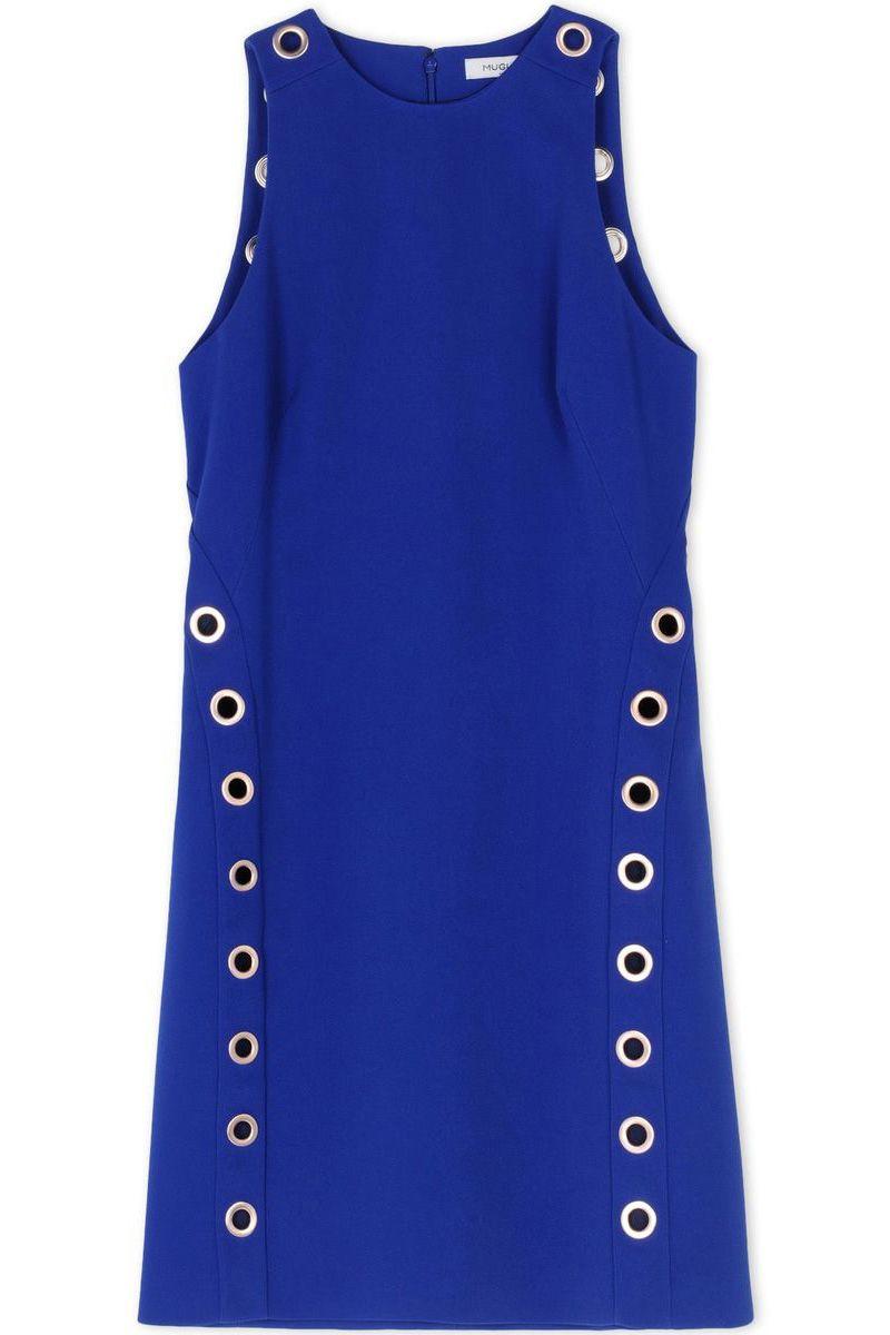 """<p><em>Mugler dress, $1,655, </em><a href=""""https://shop.harpersbazaar.com/designers/m/mugler/eyelet-embellished-crepe-mini-dress-5652.html""""><em>shopBAZAAR.com</em></a></p>"""