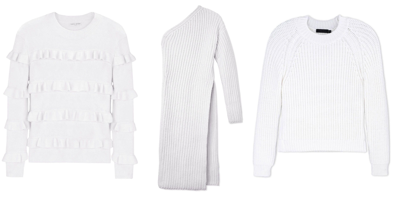 """<p><em>Each X Other sweater, $378, <a href=""""https://shop.harpersbazaar.com/designers/e/each-x-other/ivory-ruffle-sweater-5480.html"""" target=""""_blank""""><strong>shopBAZAAR.com</strong></a>; Stella McCartney sweater dress, $1,020, <a href=""""https://shop.harpersbazaar.com/designers/stella-mccartney/one-sleeve-dress/"""" target=""""_blank""""><strong>shopBAZAAR.com</strong></a> (wait list); Calvin Klein Collection sweater, $675, <a href=""""https://shop.harpersbazaar.com/designers/c/calvin-klein-collection/white-knit-sweater-5386.html"""" target=""""_blank""""><strong>shopBAZAAR.com</strong></a>. </em></p>"""