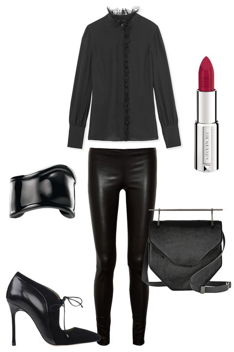 """<p>In a city that's ever changing, one thing doesn't: Head-to-toe black is always right. Make it interesting by mixing textures, i.e. leather pants, suede booties and a calf hair bag.</p><p><strong>M2Malletier</strong> Amor Fati Calf Hair and Leather Shoulder Bag, $2,185, <a href=""""http://www.net-a-porter.com/us/en/product/462369"""" target=""""_blank"""">net-a-porter.com</a>; <strong>The Row</strong> Leather Moto Pants, $1,950, <a href=""""http://www.saksfifthavenue.com/main/ProductDetail.jsp?PRODUCT%3C%3Eprd_id=845524446765258&site_refer=GGLPRADS001&prod_id=0434141637151&cagpspn=pla&CAWELAID=500002830007479142&catargetid=500002830005596588&cadevice=c&gclid=Cj0KEQjw9o-vBRCO0OLi2PfPkI8BEiQA8pdF4Im6He4Kd9G3jKQTIGVoWM20q1yr21pFwiEglYDCGvgaAoks8P8HAQ"""" target=""""_blank"""">saksfifthavenue.com</a>; <strong>Chelsea Paris</strong> Leather and Suede Ankle Boot, $595, <a href=""""https://shop.harpersbazaar.com/designers/c/chelsea-paris/leather-suede-ankle-boot-5248.html"""" target=""""_blank"""">shopBAZAAR.com</a>; <strong>Tiffany & Co.</strong> Elsa Peretti®<strong></strong> Bone Cuff in Black Carbon Finish Over Copper, $500, <a href=""""http://www.tiffany.com/Shopping/Item.aspx?fromGrid=1&sku=29060967&mcat=148206&cid=288187&search_params=p+1-n+10000-c+288187-s+5-r+1012580399-t+-ni+1-x+-lr+-hr+-ri+-mi+-pp+0+2&search=0&origin=browse&searchkeyword="""" target=""""_blank"""">tiffany.com</a>; <strong>Altuzarra</strong> Knox Crepe de Chine Blouse $1,195, <a href=""""https://shop.harpersbazaar.com/designers/altuzarra/knox-crepe-de-chine-blouse/"""" target=""""_blank"""">shopBAZAAR.com</a>; <strong>Givenchy Beauty</strong> Le Rouge Lipstick, $36, <a href=""""http://www.barneys.com/givenchy-beauty-le-rouge-lipstick---rose-boudoir-204-503533254.html#start=15"""" target=""""_blank"""">barneys.com</a></p><p><strong></strong></p><p><strong></strong></p><p><strong></strong></p>"""