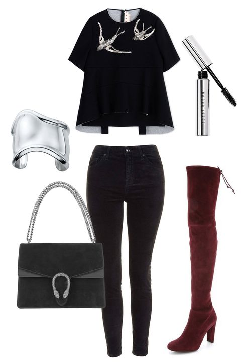 """<p><strong></strong>Why not do as the Italians do? Dial up the sexy with over-the-knee boots paired with a structured top. Streamlined, yet alluring, all at once. </p><p><strong>Stuart Weitzman</strong> Highland Over the Knee Boots, $798, <a href=""""https://www.shopbop.com/highland-over-knee-boots-stuart/vp/v=1/1521607362.htm?folderID=13465&fm=other-shopbysize-viewall&os=false&colorId=80815"""" target=""""_blank"""">shopbop.com</a>; <strong>Tiffany & Co.</strong> Elsa Peretti®<strong></strong><strong> </strong>Bone Cuff in Sterling Silver, $1,150, <a href=""""http://www.tiffany.com/Shopping/Item.aspx?fromGrid=1&sku=10659035&mcat=148206&cid=288187&search_params=p+1-n+12-c+288187-s+5-r+1012580399-t+-ni+1-x+-lr+-hr+-ri+-mi+-pp+352+1&search=0&origin=browse&searchkeyword="""" target=""""_blank"""">tiffany.com</a>; <strong>Topshop</strong> MOTO Black Velvet Jamie Jeans, $75, <a href=""""http://us.topshop.com/en/tsus/product/clothing-70483/jeans-4593087/moto-black-velvet-jamie-jeans-4627139?bi=1&ps=20"""" target=""""_blank"""">topshop.com</a>; <strong>Marni</strong> Black Neoprene Sequined Top, $1,390, <a href=""""https://shop.harpersbazaar.com/designers/m/marni/black-neoprene-short-sleeve-sequined-sweatshirt-5203.html"""" target=""""_blank"""">shopBAZAAR.com</a>; <strong>Gucci</strong> Dionysus Medium Suede and Leather Shoulder Bag, $2,450, <a href=""""http://www.net-a-porter.com/us/en/product/608208"""" target=""""_blank"""">net-a-porter.com</a><strong></strong>; <strong>Bobbi Brown</strong> No Smudge Mascara, $26, <a href=""""http://www.barneys.com/bobbi-brown-no-smudge-mascara-189065018.html#start=26"""" target=""""_blank"""">barneys.com</a></p>"""