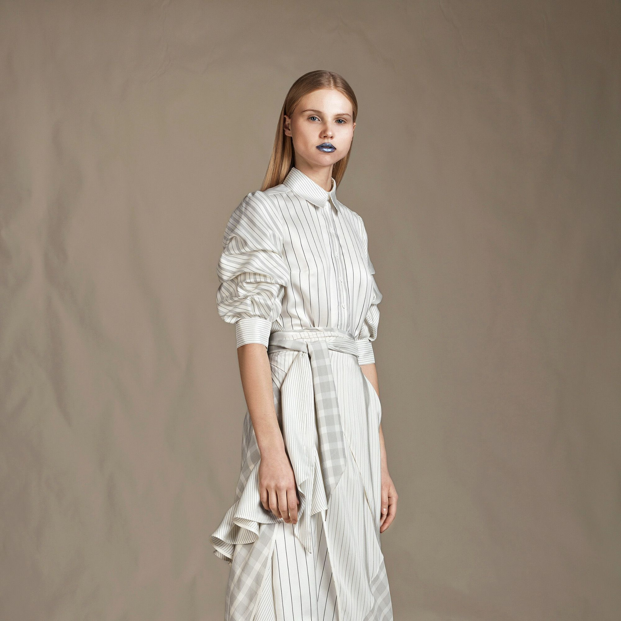 <p>With sculptural shapes and inventive layering, Lumelsky's artisanal creations take their cue from the plaids worn by Scottish Highlanders and are designed to be styled in mulptiple ways. </p>