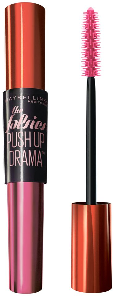 "<p>""I love the Falsies Push-up Drama Mascara [out October 2015] and all of the <a href=""http://www.maybelline.com/Products/Lip-Makeup/Lip-Color/Color-Sensational-Creamy-Mattes.aspx"" target=""_blank"">Matte Nude</a> lipstick collection. Even if I have no other makeup on, I always want a nude lip and if I'm going to do a bright, I want it to be matte. I always have the <a href=""http://www.ulta.com/ulta/browse/productDetail.jsp?productId=xlsImpprod10821028&skuId=2275252&cmpid=PS_Non!google!Product_Listing_Ads&cagpspn=pla&CAWELAID=330000200000178261&catargetid=330000200000190690&cadevice=c&gclid=COWAkNWy-ccCFYgUHwodjz0H1A"" target=""_blank"">Nudes Palette</a> with me because as long as you have that and mascara and a brush, you can do everything with it. I've contoured, I've done my eyebrows and if you have the right brushes, you can even do a cat-eye with the black.""</p>"