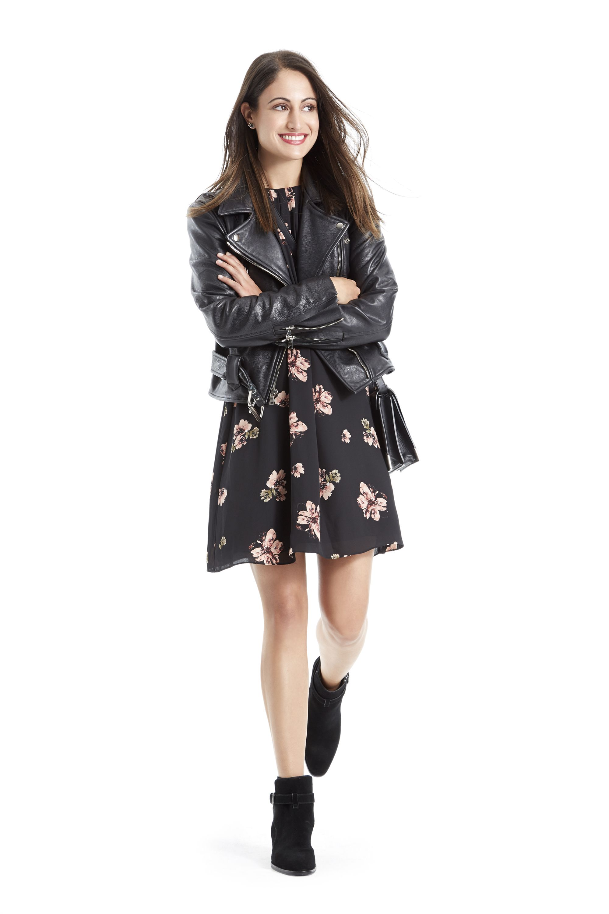 """<p>Throw a leather moto jacket over an artsy feminine floral print for a low profile, cool girl vibe that'll fit in perfectly at the latest exhibits. """"I walk around a lot, so a chunky heel is important for me,"""" says Fawbush. """"This boot is ideal for everyday.""""</p>"""