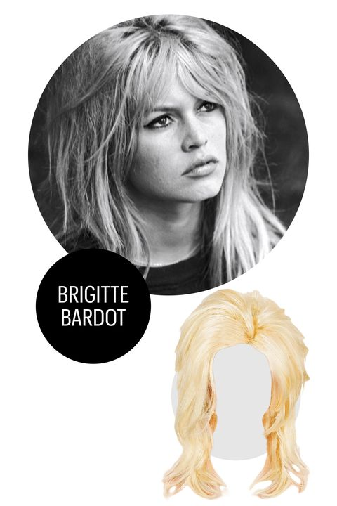 """<p>The beauty of an ultra-teased, choppy Bardot 'do is that all you need is a heavy dose of eyeliner, a striped shirt, and black trousers. If you really want to seal the deal, try your hand at <a href=""""http://www.marieclaire.com/beauty/news/a15735/jlo-lip-liner-tutorial/"""" target=""""_blank"""">visible lip liner</a> using a nude pencil. </p><p>Fun World Platinum Blonde Wig, $12.50; <a href=""""http://www.amazon.com/Morris-Costumes-Blonde-Midwest-Momma/dp/B009BRJ8KQ"""" target=""""_blank"""">amazon</a>.</p>"""