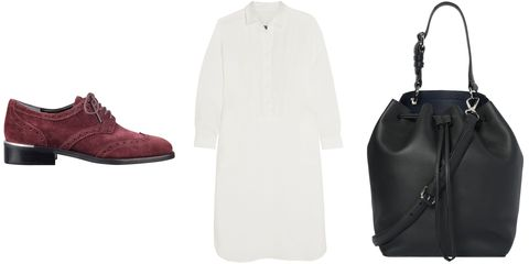 "<p><em>Katie Man-Tailored Lace Up Oxford, $145, <a href=""http://www.marcfisherfootwear.com/shop/marc-fisher-ltd/katie-oxford-2"" target=""_blank"">marcfisherfootwear.com</a>; Raquel Allegra Pleated Linen Shirt Dress, $650, <a href=""https://www.net-a-porter.com/product/572060/Raquel_Allegra/pleated-linen-shirt-dress"" target=""_blank"">net-a-porter.com</a>; Derek Lam 10 Crosby Bucket Bag, $695, <a href=""https://www.shopbop.com/crosby-bucket-bag-derek-lam/vp/v=1/1534117590.htm?fm=search&os=false"" target=""_blank"">shopbop.com</a></em></p>"