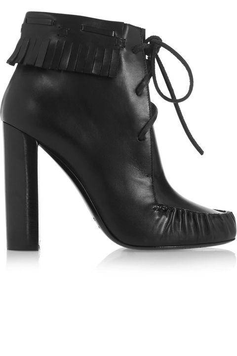 Footwear, Leather, Fashion, Black, Boot, Liver, Dress shoe, High heels, Fashion design, Foot,
