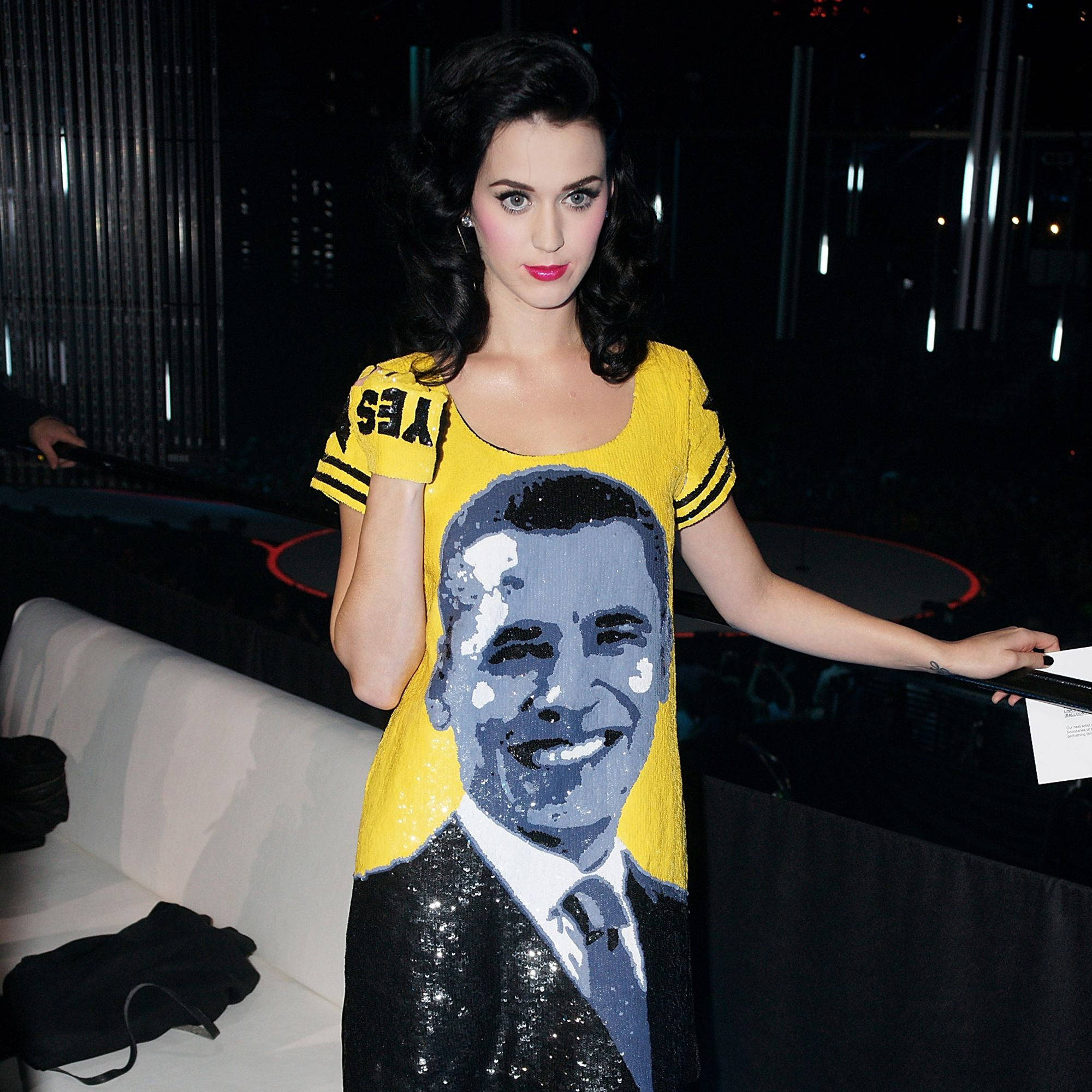 <p>Barack Obama was elected President of the United States just two days before Katy Perry wore this Jean Charles de Castelbajac dress at the 2008 MTV Europe Music Awards. </p>