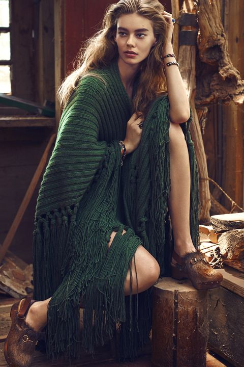 """<p><strong>Burberry</strong> poncho, $3,295, <a href=""""http://www.burberry.com/"""" target=""""_blank"""">burberry.com</a>; <strong>Kelsey Warman </strong>bracelets, $12-15, <a href=""""http://www.kelseywarman.com/"""" target=""""_blank"""">kelseywarman.com</a>; <strong>Saint Laurent by Hedi Slimane</strong> bracelet, $1,295, 212-980-2970; <span class=""""redactor-invisible-space""""><strong>Meadowlark </strong><span class=""""redactor-invisible-space"""">ring, $1,999, <a href=""""https://meadowlarkjewellery.com/"""" target=""""_blank"""">meadowlarkjewellry.com</a>; <strong>Vicki Turbeville </strong><span class=""""redactor-invisible-space"""">ring, $250, </span></span></span><a href=""""http://vickiturbeville.com"""" target=""""_blank"""">vickiturbeville.com</a><span class=""""redactor-invisible-space"""" style=""""line-height: 1.6em; background-color: initial;""""><span class=""""redactor-invisible-space""""><span class=""""redactor-invisible-space"""">; </span></span></span><strong>Gucci</strong> clogs, $865, <a href=""""http://www.gucci.com/us/home"""" target=""""_blank"""">gucci.com</a>.</p>"""