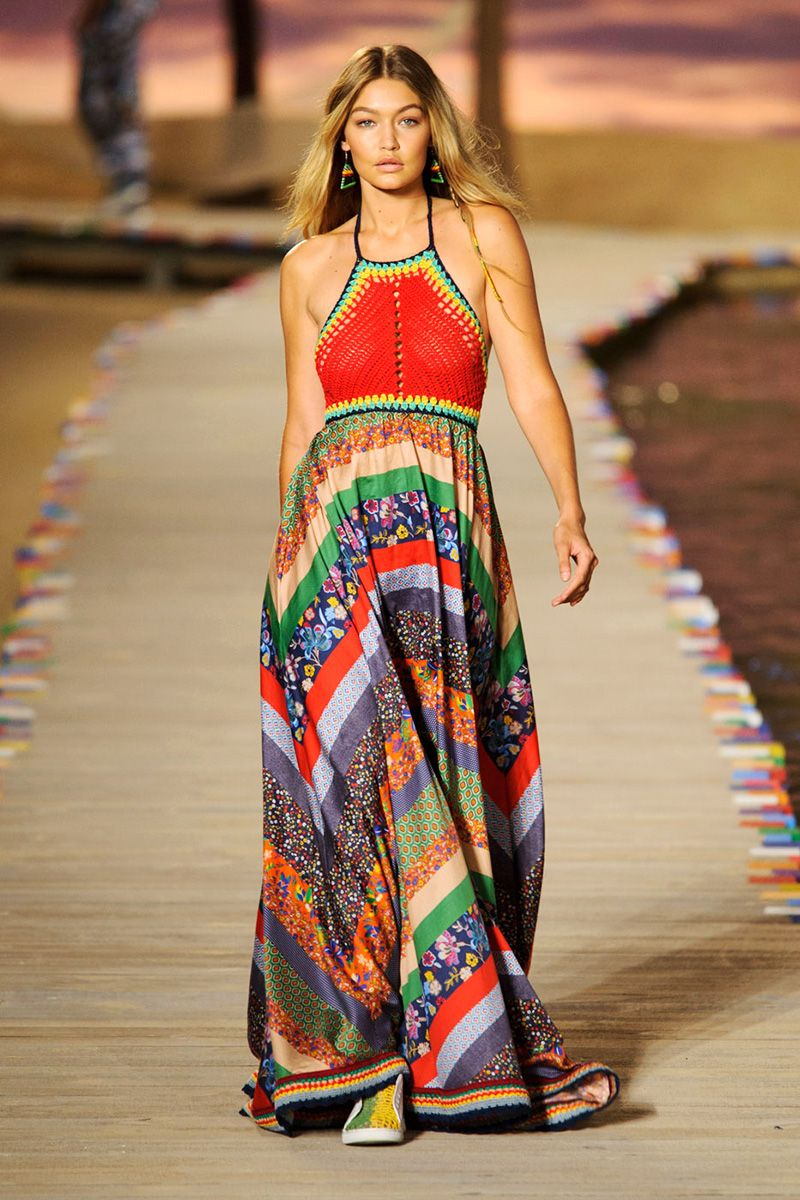<p>It's nice when designers embrace the season wholeheartedly (even in a buy now, wear now retail environment) and what spells spring fashion more than the ease and attitude of the West Coast? It's exemplified in maxi dresses such as the hippie halter one Tommy Hilfiger enlisted Gigi Hadid to show off, colorful prints and patchworks at Anna Sui and DVF, plus enough cool separates to live that sunny boho life you'll be dreaming of come February. </p><p><em>Pictured: Tommy Hilfiger</em></p>