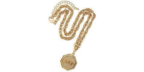 Font, Metal, Pattern, Chain, Symbol, Brass, Locket, Circle, Gold, Body jewelry,