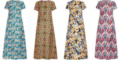 Sleeve, Pattern, Dress, Orange, One-piece garment, Aqua, Teal, Day dress, Turquoise, Design,