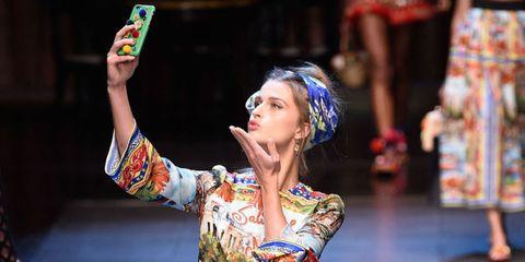 Models Take Selfies on the Dolce & Gabbana Runway