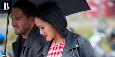 Clothing, Lip, Hairstyle, Beard, Facial hair, Black hair, Interaction, Street fashion, Fashion, Jacket,